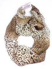 Infinity style Scarf  neck Wrap Brown Honey Leopard print design NWT