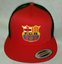 FC BARCELONA SOCCER  BASEBALL HAT MESH TRUCKER RED BLACK  SNAP BACK FLAT BUILD
