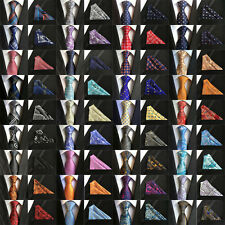 1X Mens ties Silk & Pocket Square Handkerchief SET Paisley Party From 48 Colors