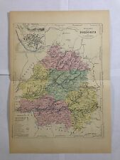 GRAVURE FRANCE ILLUSTREE DEPARTEMENT 24 DORDOGNE 1881 MALTE BRUN CARTE ERHARD