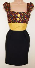 G HEAVEN BLACK BLOCK POLKA DOT SPOTS MULTICOLORED PENCIL TUBE BODYCON DRESS S M