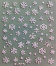Accessoire ongles : nail art , Stickers noël : flocons de neige blancs