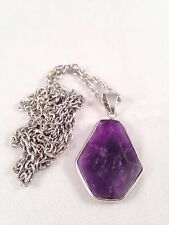 Lovely Purple Amethyst Gemstone Pendant Necklace Chain Energy Healing