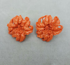 Vintage earrings lightweight celluloid molded coral orange tigerlily screw-back