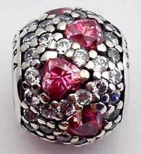 Authentic Pandora Shimmering Heart Pave Fancy Pink Bead Charm 791249CZS New