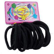Black thick Hair Bands Elastic Ponytail Rubber Bobbles - 15 Pack