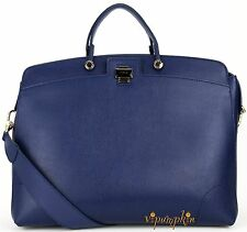 FURLA NEW PIPER LUX LARGE DARK BLUE LEATHER TOTE BAG BNWT $698
