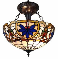Amora Lighting Tiffany Style Hanging Light Stained Glass AM076HL16
