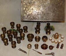 Vintage BRASS miniature DOLL HOUSE Accessories 36pc. Oil Lamps, Spitton, & More!