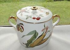Royal Worcester Porcelain Evesham Large Storage Jar Biscuit Barrel  Gilt Trim