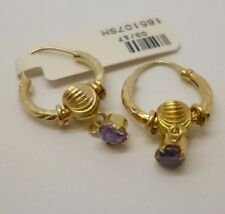 18ct yellow gold ornate purple Amethyst drop hoop earrings with threader clasp