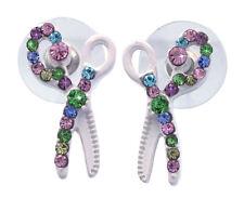 White Scissors Hair Stylist Designer Stud Earrings Beauty Salon Girl Jewelry