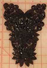 12 Absolutely beautiful vintage black appliques beaded sequin flower design 8.5""