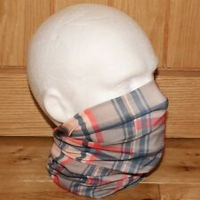 Mens Tube Snood Scarf Nova Beige Blue Red Check Plaid Biker Multifunctional NEW