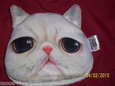 WHITE Scontroso gatto, gattino carino NUOVO PORTAMONETE Floreale Foderato Novità bag wallet
