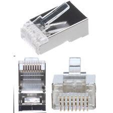 Lot10 SHIELDED RJ45 Crimp-On cable End 8P8C STP modular connector Cat5e Ethernet