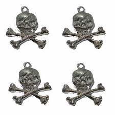 10 Silver Plated Metal Skull & Crossbones Charms Pirate Gothic Pendant 25mm
