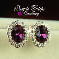 18K Rose Gold Plated Elegant Amethyst Stud Earrings W/ Genuine Swarovski Crystal