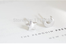 New Fashion Tiny Silver Teens Moon and Star Studs Earrings