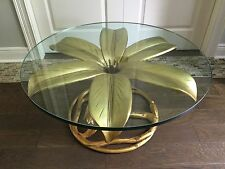Vintage Arthur Court Hollywood Regency Lily Flower Gold Gilt Side Coffee Table