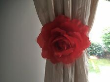 "HOME DECOR PRETTY RED ROSE FLOWER CURTAIN VOILE CLIP ON 6"" TIE BACK"