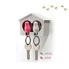 Duo Sparrow White House Key Ring Holder & Whistle with White and Pink Bird