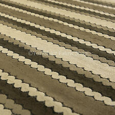 New Designer Eclipsed Striped Pattern Brown Chocolate Chenille Upholstery Fabric