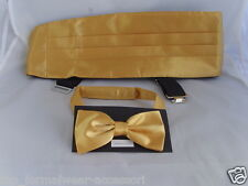 Shiny NEON Yellow GOLD Polyester Cummerbund and Bow Tie Set-in Over 60 Colours