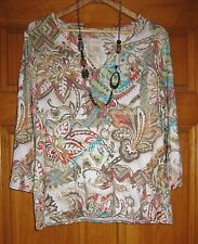 NWT CHICO'S TURQUOISE CORAL INDONESIAN PAISLEY IVANA KNIT TOP, 2 M/L 14