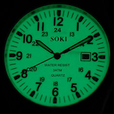 SOKI Luminous Dial Time Mens Analog Show Date Quartz Wrist Steel Band Watch