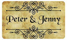 21 RUSTIC, VINTAGE PERSONALISED, GLOSSY WEDDING FAVOUR STICKERS, SEALS