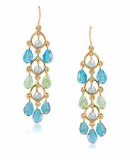 CAROLEE 'Niagra Mist' Blue Green Gold-Tone Beaded Linear Drop Earrings