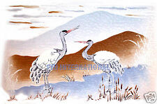 "B02 ~ Oriental Crane Scene on Ceramic Decal 11"" x 8 1/2"" Mural, Tray size, Heron"