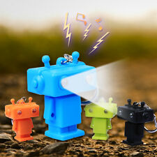 Cool!3D Cute Robot Light Up LED Torch With sound Keyrings KeyChain toys UKYS85