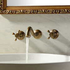 Antique Polished Brass Wall Mount Bathroom Basin Faucet 2 Handles Sink Mixer Tap