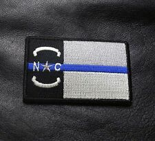NORTH CAROLINA STATE FLAG THIN BLUE LINE POLICE  ACU TACTICAL MORALE HOOK PATCH