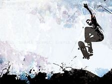 PAINTING ILLUSTRATION SPORT SKATEBOARD JUMP AIR ABSTRACT PRINT POSTER MP3189A