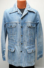 vtg Lee LITE BLUE DENIM 70s Safari Jacket M MED jean chore blazer coat USA snap