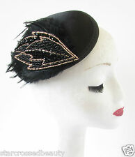 Black & Gold Feather Fascinator Headpiece Hat Vintage Races Pin Up Burlesque S17