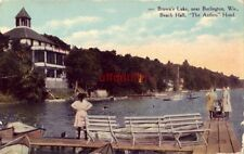 "BROWN'S LAKE, BURLINGTON, WI. BEACH HALL, ""THE ANTLERS"" HOTEL women on pier"