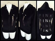 Victoria's Secret Pink Black Hoodie Sequin Logo Sexy Velour Jacket Small NWOT