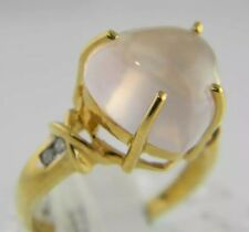 14KT YELLOW GOLD DIAMOND & HEART SHAPE PINK ROSE QUARTZ(The Love Stone) RING