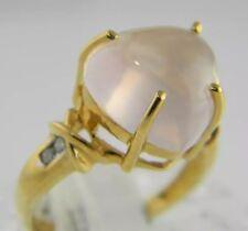 14KT YELLOW GOLD DIAMOND & HEART SHAPE PINK ROSE QUARTZ(The Love Stone) RING