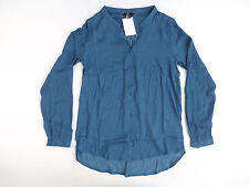 H&M Women's Spotted Satin Blouse Blue Size 4 NWT