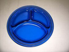 L.E. SMITH VINTAGE 1930'S COBALT BLUE DEPRESSION GLASS DIVIDED GRILL PLATE