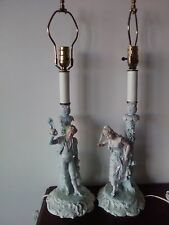 Pair Antique Bisque Figurine Lamps 18th Century Court Couple