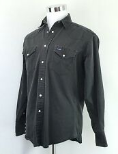 Vintage WRANGLER Mens Green Shirt Pearl Snaps Long Sleeve Cowboy Rancher Size M