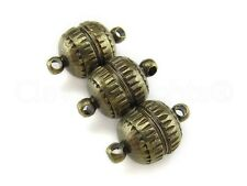 20 Magnetic Clasp Converters - Deco Drum Style - Antique Bronze Color - Necklace