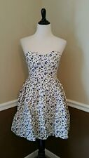 NWT Modcloth Frappe Attention Dress M Beige Strapless Blue Floral Retro Alythea