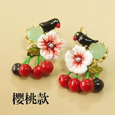 Boucles d`Oreilles Dormeuse Cerise Rouge Oiseau Email Blanc Original Mariage L6